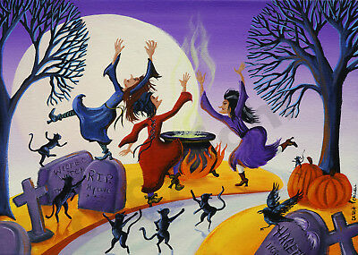 Witch cauldron crow dancing black cat Giclee art Criswell ACEO print of painting