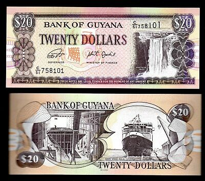 BANKNOTE WORLD GUYANA IN S. AMERICA,1 PCE OF $20  (ND) 2018 ,P-30f,  FROM BUNDLE