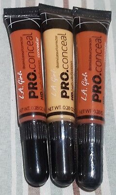 NEW (3) LA Girl Pro Conceal HD High Definition Concealer/Corrector Orange/Yellow