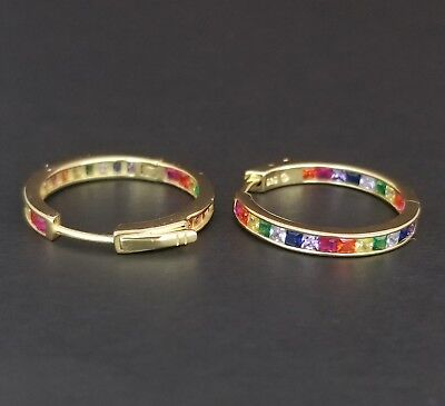 14k Yellow Gold Sterling Silver Square Ruby & Rainbow Multi Gem Hoop Earrings