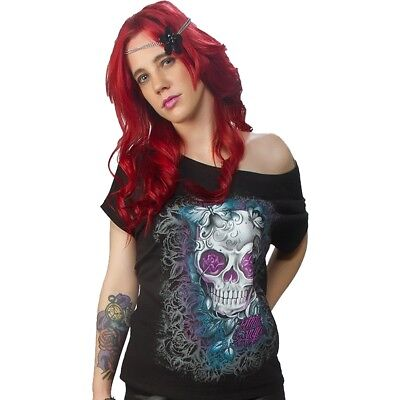fa7a0b489be548 Women s Lethal Angel D O D Skull Butterflies Off the Shoulder T-Shirt Roses