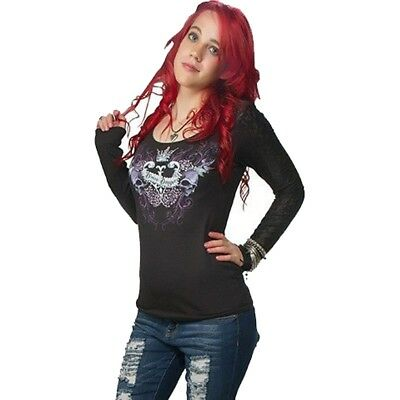 00138cd0 Women's Lethal Angel Divine Danger Lace Long Sleeve T-Shirt Black Skulls