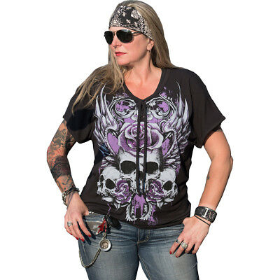 933ccae430edc5 Women s Lethal Angel Rose Skull Lace Up Plus Size T-Shirt Skulls Wings