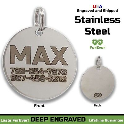 STAINLESS STEEL Pet Tag Custom Engraved ID Name Personalized Dog Cat Tags Charm