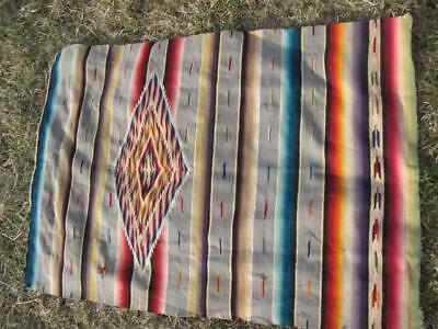 Classic Mexican Saltillo  Colorful Large Central Medalllion  Wool & SIlk 1950s