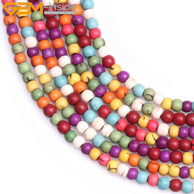 "Round Howlite Mixed Color Stone Beads For JewelryCraft Making Strand 15"" Dyed"