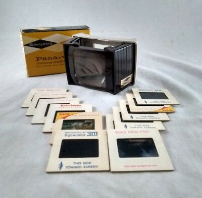 Vintage Sawyers Pana-Vue III 3 Folding 2 X 2 Viewer 35mm Bantam Super + Slides