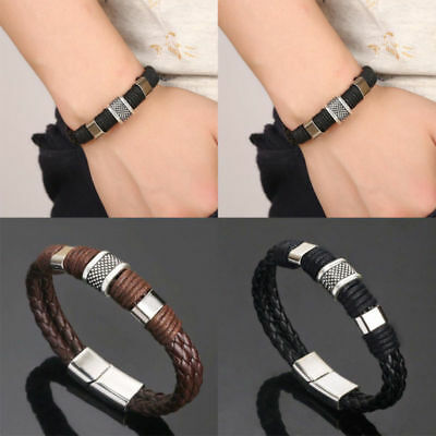 Leather Titanium Steel Magnetic Braided Clasp Women Men Bracelet Bangle Jewelry