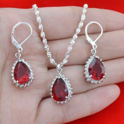 Wedding Bridal 925 Silver Jewelry Set Red Gemstone Pendant For Necklace Earring