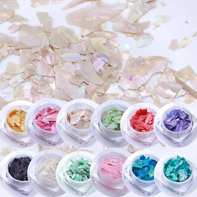 12Colors/Set Shell Foil Paper Glitter Manicure Nail Art Decoration Kit