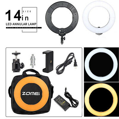 Double Way Dimmable LED Ring Light Photo ZOMEI 14 Inch Photographic Lamp LU