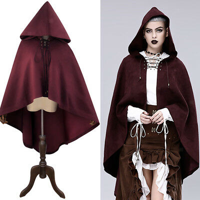 Gothic Steampunk Velvet Hooded Cloak Cape Witchcraft Medieval Party CostumeS