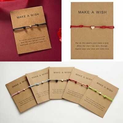 Women Heart Star Wish Bracelet Rope Bangle Friendship Couple Card Jewelry Gifts