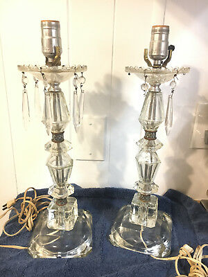 Antique Teardrop Crystal Glass Electric Lamps Pair
