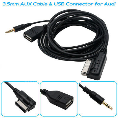 Music MP3 AMI MDI MMI Interface USB Charger 3.5mm AUX Cable For VW Audi A3 Q7 S5