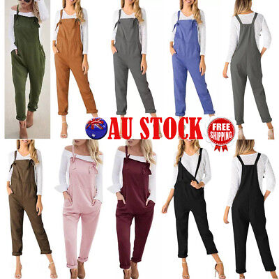 AU Womens Strappy Sleeveless Jumpsuit Playsuit Casual Romper Long Pants Overalls