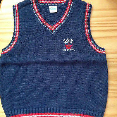 "NEW***""My School"" BOYS Quality V-Neck Knit Vest***Dark Blue***Size 3-4 or 5"