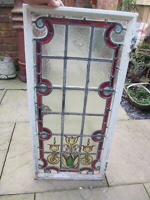Victorian Stained Glass Window Panel Architectural Antique Old Metal Frame