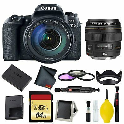 Canon EOS 77D DSLR Camera with 18-135mm USM Lens Memory and Filter Kit