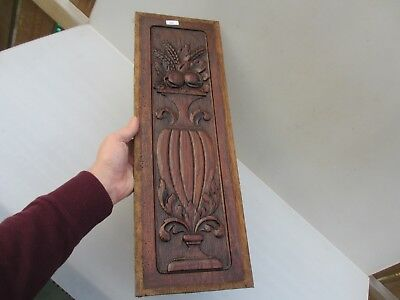 Vintage Carved Wooden Panel Plaque Door Antique Wood Urn Fruit Rococo Leaf Old