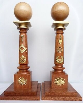 MASONIC antique style?!? Masonic wooden pillars with ball