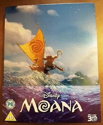 Walt Disney MOANA 3D + 2D Blu-Ray UK Exclusive Limited Edition STEELBOOK