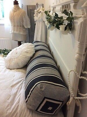 HUGE Antique French Ticking Bolster Pillow ~ Blue Indigo Textile & Feather Down