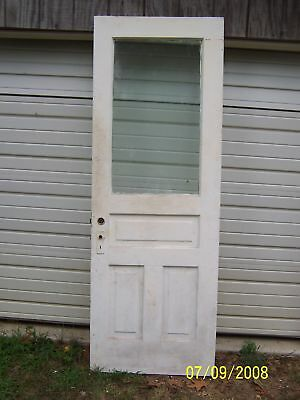 EXTERIOR ANTIQUE WOOD DOOR APPROX 30  x 83 LARGE PANE GLASS  CAN SHIP!!!!!!!!