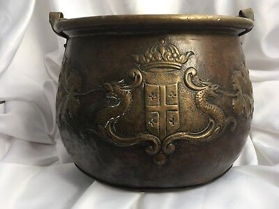 Large Antique Copper Pot Cauldron w/ Ornate Heraldry, Chateau in South of France