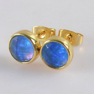 9mm Round Japanese Opal Faceted Bezel Stud Earrings Gold Plated H124062