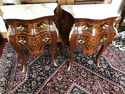 French Marquetry Inlaid Bombe Bedside Cabinets With Marble Tops And Ormolu Mount
