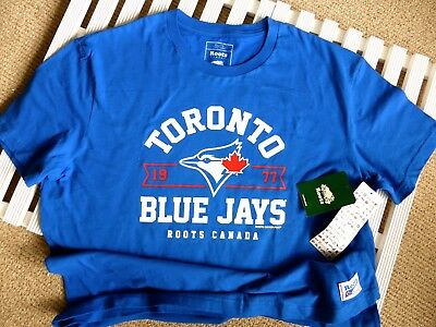 XL or XXL Roots BLUE JAYS OFFICIAL MLB Baseball T Shirt Toronto MADE IN CANADA