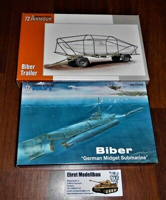 WWII german Kriegsmarine Biber U-Boot Type + Trailer  in 1:72 MPM 100-SN72006