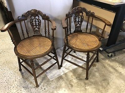 Pair Of Antique French Delicate Chairs With Carved Detail And Bergere Seats