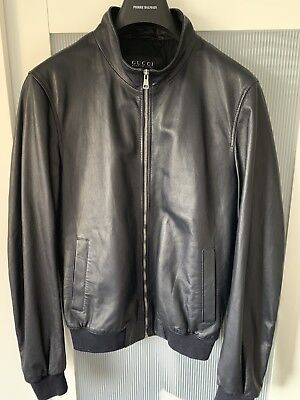 b1568f650552 Gucci Men Soft Leather Bomber Jacket Size 48 100% authentic article
