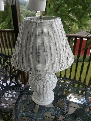 "Vintage White Wicker Table Lamp 24"" Tall W/ Shade"