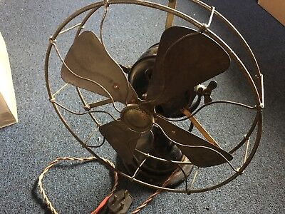 Antique Cast Iron Brass Vintage Table Desk / Wall Mount Fan