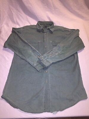 Vintage Mens Size Large Long WOOLRICH Green Chamois Long Sleeve Button Up Shirt