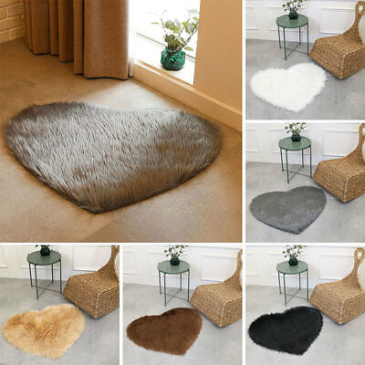 9C4F Wool Home Fluffy Carpet Floor Chair Multicolored Heart-Shaped Wool Carpet