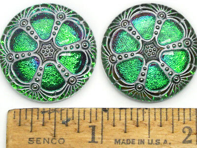 SPARKLING 27mm Vintage Czech Green PURPLE FIRE AB Glass Domed WINDOW Buttons 2pc