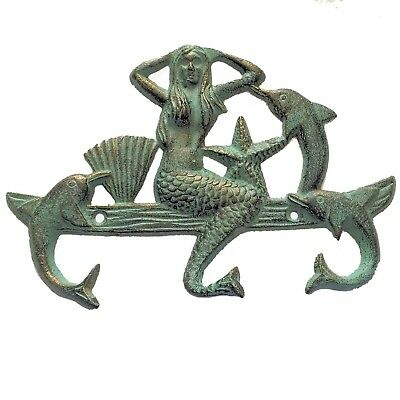 Cast Iron SEXY MERMAID STARFISH DOLPHINS TRIPLE HOOK Beach Nautical Ocean Decor