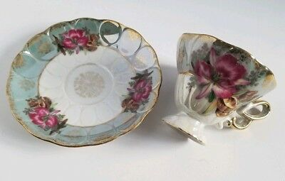 Vintage Royal Halsey Very Fine Pedestal Teacup Iridescent Orchid Mother Of Pearl