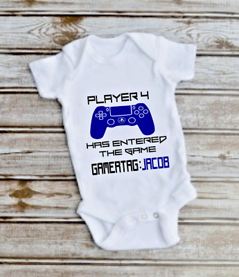 PERSONALISED PS4 GAMER vest babygrow gift bodysuit baby boy girl clothes BG11