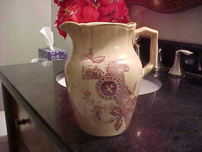 """Antique Pottery Pitcher 7"""" John Goodwin Novelty Pottery Co. of E. Liverpool, Oh"""