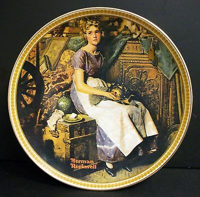 New Edwin M Knowles Norman Rockwell Dreaming In The Attic Collector's Plate