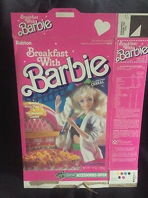 Vintage Breakfast With Barbie empty Cereal Box 1989 Ralston Pink *Dance Club*