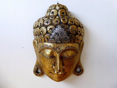 Buddha Mask Wooden Carving Golden Temple Buddha..