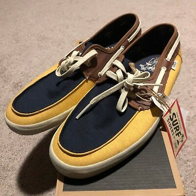 6892e2536987 VANS Mens Chauffeur Navy Mineral Yellow Surf Sider Boat Shoes Size US 9.5