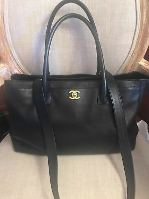 f6e20a25642342 Chanel Black Leather Executive Cerf Tote Bag Purse w Strap + Custom  Organizer