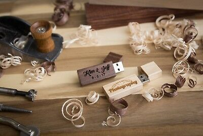 USB Flash Drive Personalized Custom Engraved Maple Walnut Wood 5 Pack Wedding